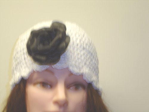 Cp155, Hand Crocheted White Chenille Gimp Tweed Skull Cap with One Pinned Black Silk Flower for Women and Teens - Buy Cp155, Hand Crocheted White Chenille Gimp Tweed Skull Cap with One Pinned Black Silk Flower for Women and Teens - Purchase Cp155, Hand Crocheted White Chenille Gimp Tweed Skull Cap with One Pinned Black Silk Flower for Women and Teens (Gita, Gita Hats, Womens Gita Hats, Apparel, Departments, Accessories, Women's Accessories, Hats)