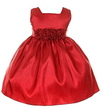 Sweet Kids Baby-Girls Slvless Dress Flw Waistband 12M Med Red (SK B3047)