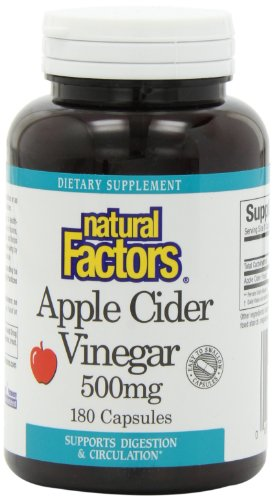 Natural Factors Apple Cider Vinegar 500Mg Capsules, 180-Count