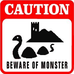 CAUTION: BEWARE OF MONSTER lake serpent sign