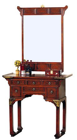 Oriental Furniture Unique Luxury Gift for Her Wife, 33-Inch Japanese Design Console Vanity Table with Mirror