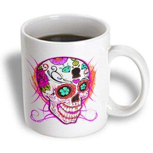 3Drose Mug_193528_2 Diamond Sugar Skull Pink, Ceramic Mug, 15-Ounce