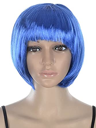 Women's Costume Party Short Straight Bob Wig - Blue - St. Valentine's Day Deal