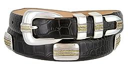Mens Gold Pebble Beach Genuine Italian Calfskin Leather Designer Dress Golf Belt(Alligator BLK,42)