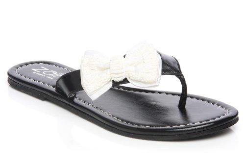 Cheap Unze Women Sequin Accented Bow Thong Summer, Casual, Day, Beach Party Slipper – Ai008 (B008BYYQAC)