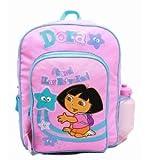 Backpack - Dora the Explorer - Pink - Stars Large School Bag w/ Water Bottle