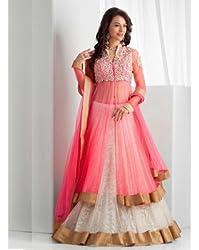 Sargam Fashion Embroidered With Embellished Pink Net Traditional Wedding Wear Lehenga Choli Set. - SRSF378