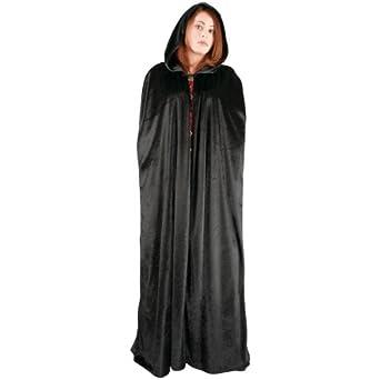 Amazon.com: Adult Long Hooded Cape Color: Black: Costume Accessories