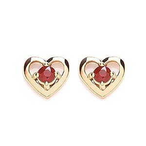 Chic 9ct Ruby Heart Shaped Stud Earrings