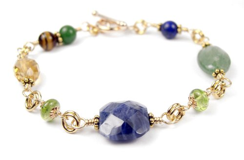 Damali Healing Relationships w/ Sodalite, Aventurine, Citrine, Peridot, Tiger Eye in 14kt Gold Filled - Small 6.5 Inches