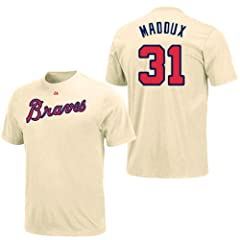Greg Maddux Atlanta Braves Ivory Player T-Shirt by Majestic by Majestic