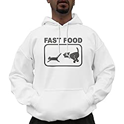 Nutees Fast Food Dog Chasing Cat Funny Unisex Hoodie - White