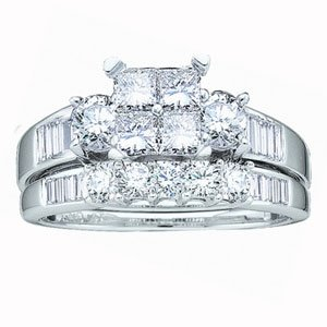 2 Carat Invisible Princess Round Baguette Diamond 14k White Gold Bridal Set Ring