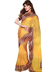 Exotic India Beeswax-Yellow Designer Sari With Heavy Embroidered Patch - Yellow