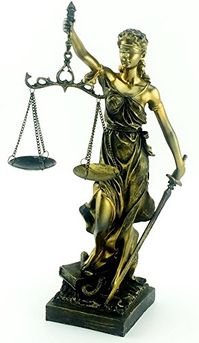 Lady Of Justice Statue with Scales 11.5 Inches Tall
