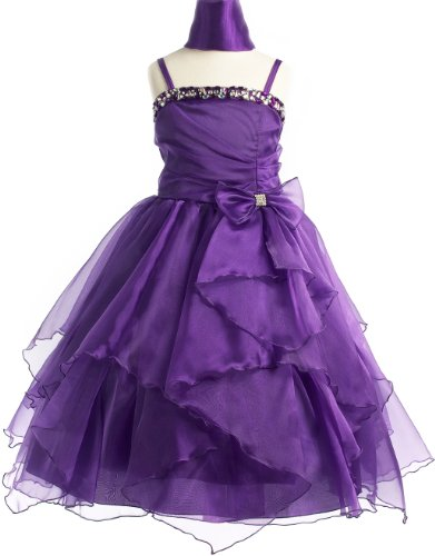 Rhinestone Pageant Party Holiday Communion Flower Girl Long Dress – Purple 2