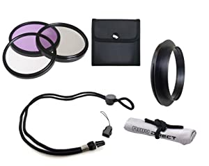 Sony Cybershot DSC-HX200V High Grade Multi-Coated, Multi-Threaded, 3 Piece Lens Filter Kit Made By Optics + Filter Adapter + Krusell Multidapt Neck Strap + Nwv Direct Microfiber Cleaning Cloth