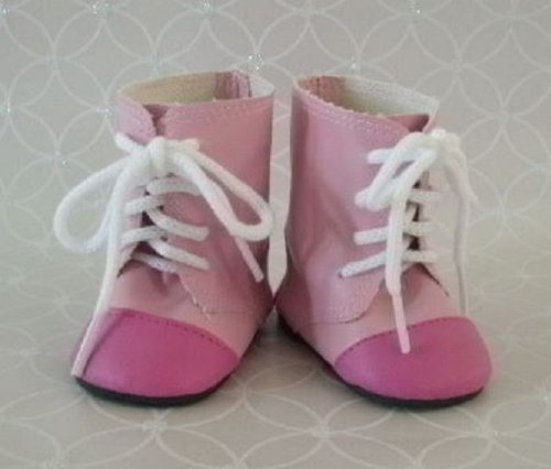 Pink 2-tone Boots Doll Shoes Fit American Girl & 18-inch Dolls - 1