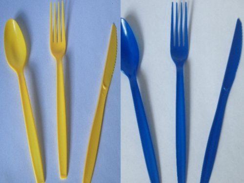Yellow And Blue Forks Spoons Knives - 96 Pc Set