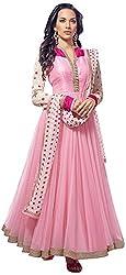 Vraj Raj Tex Women's Georgette Unstitched Dress Material (Pink)