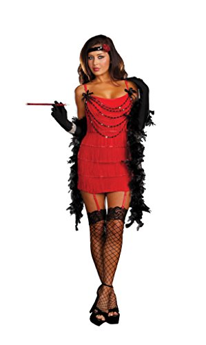 Dreamgirl Womens Ruby Red Hot Fringed Flapper Outfit Fancy Dress Sexy Costume