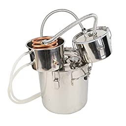 Suteck® 5 Gal Stainless Steel Water Alcohol Distiller Copper Tube 18L Moonshine Still Spirits Boiler Home Brewing Kit with Thumper Keg #BW