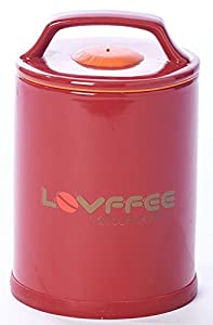 Lovffee Red Ceramic Premium Coffee Canister With Coffee Scoop Holds 1 Pound Whole