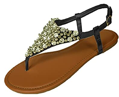 92d245999 Womens Metallic   Faux Leather Gladiator Sandals Flat Shoes W Beads    Rhinestones