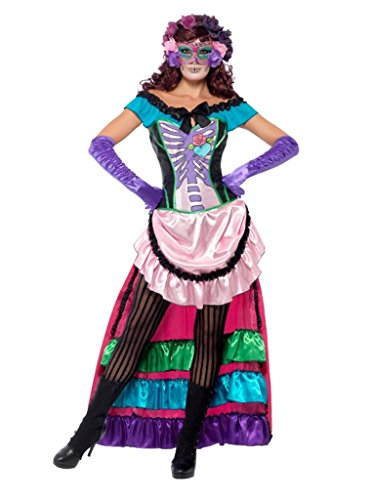 Smiffy'S Women'S Day Of The Dead Sugar Skull Costume Dress With Train Lace Up Corset And Eye Mask, Multi, Large