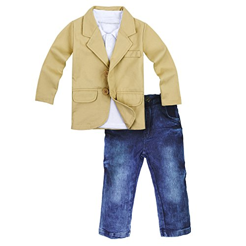 Big Elephant 3 Pieces Baby Boys Shirt Jacket Jeans Set Toddler Pants Clothing D99 (18-24 months)