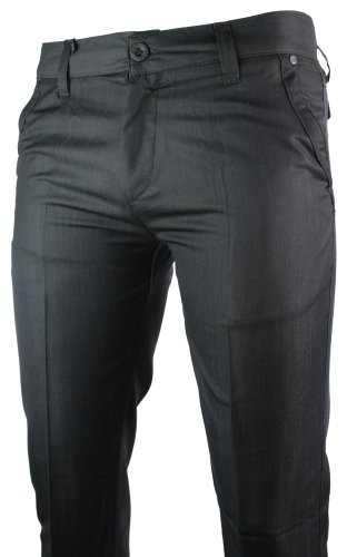 Mens Slim Fit Trousers Navy Pocket Stud Black Design Italian Smart