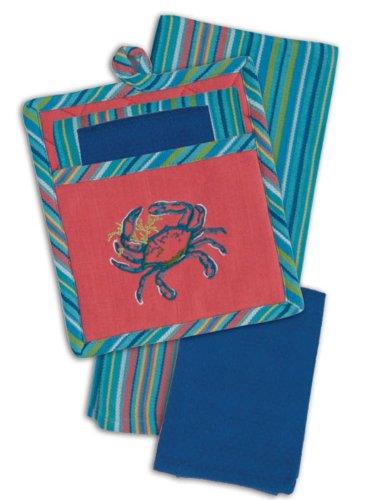 Coastal Blue Crab Embroidered Kitchen Pocket Mitt Tea Towel Dishcloth Set Of 3
