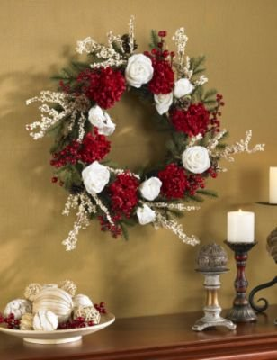 Hydrangea w/White Roses Wreath