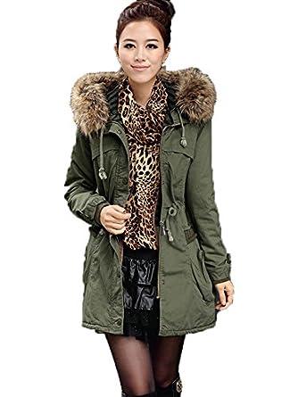 women fleece winter warm parka faux fur jacket hooded coat. Black Bedroom Furniture Sets. Home Design Ideas