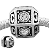 Truly Charming® Silver Plated Clear Stone Stopper Clip Charm Bead Will Fit Pandora Troll Chamilia Style Bracelets