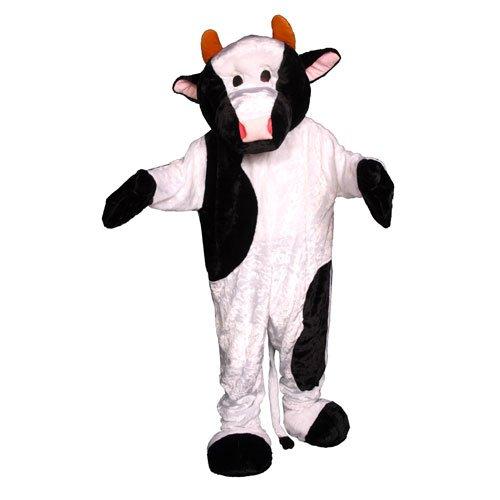 Dress Up America Cow Mascot, White/Black