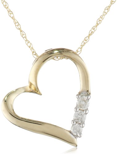 10k Gold and Diamond Three-Stone Heart Pendant