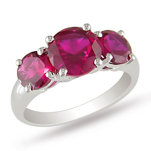 Sterling Silver 4 2/5 CT TGW Round Created Ruby Gemstone 3 Stone Ring