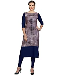 Ziyaa Women's Blue Colour Digital Print Crepe Kurti