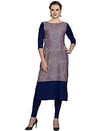 Ziyaa Women's Blue Colour Digital Print Crepe Kurti