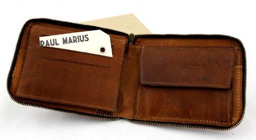 Portafoglio LE PORTEFEUILLE DE PAUL in pelle, colore naturale, porta biglietti da visita, cerniera sicuro più vicino, PAUL MARIUS Vintage & Retro