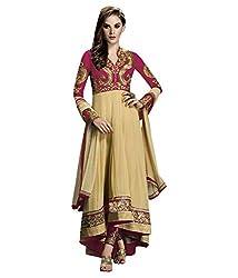Maruti Creation Women's Georgette Semi-stitched Anarkali Suit Dress Material (MC1022B_FREE_SIZE_PINK)