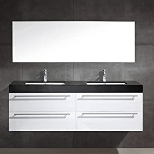 meuble de salle de bain alto 140 noir blanc. Black Bedroom Furniture Sets. Home Design Ideas