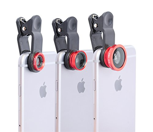 Clip-on-Cell-Phone-Camera-Lens-Red-Take-Better-Pictures-with-Macro-Wide-Angle-and-Fisheye-Lenses-3-Different-Lenses-for-All-Types-of-Pictures