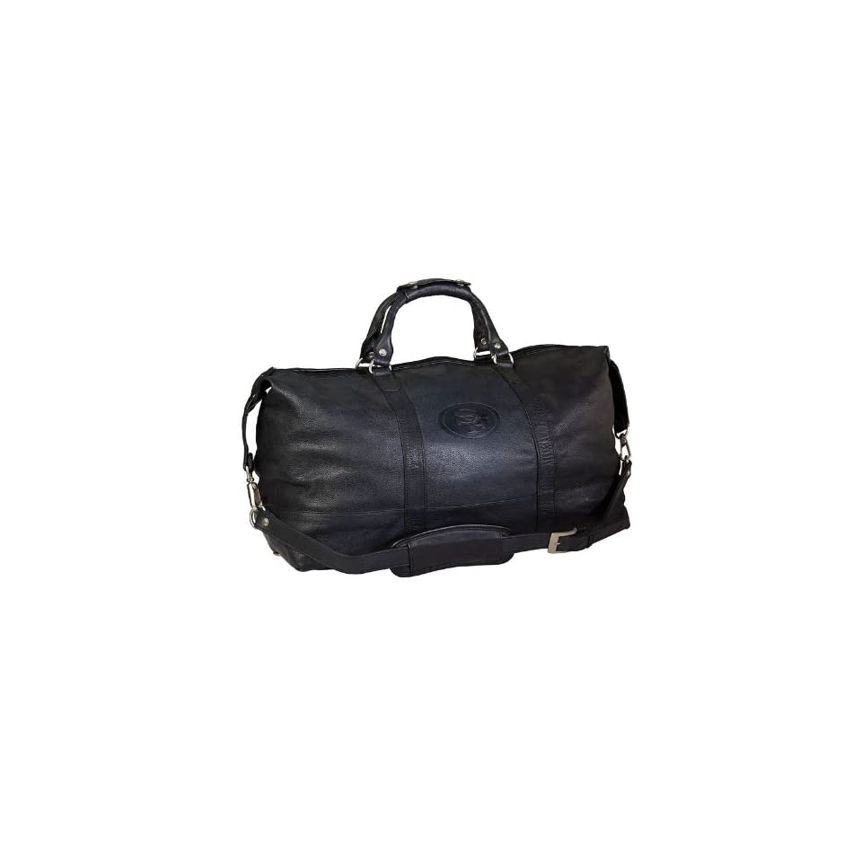 "23"" NFL San Francisco 49ers Debossed Black Leather Captain's Carry on Bag   Luggage Racks"