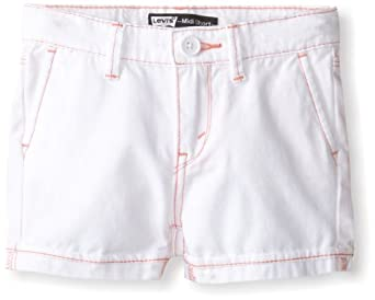 Levi's Little Girls' Midi Twill Short, White, 2T