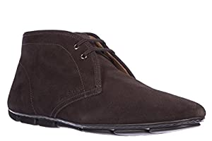 Prada men's suede desert boots lace up ankle boots brown US size 7.5 2DD005 XTY F0192