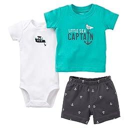 Carter\'s 3pc Bodysuit, Tee & Short Set (nb, Turquoise/Grey-Boat Anchor)