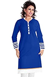 Isha Enterprise Women's Blue Colour Semi Stitched Straight Kurti