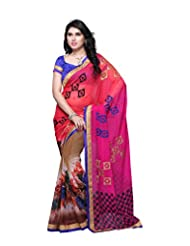 Aaliyah Women's Georgette Saree With Blouse Piece(Pink)